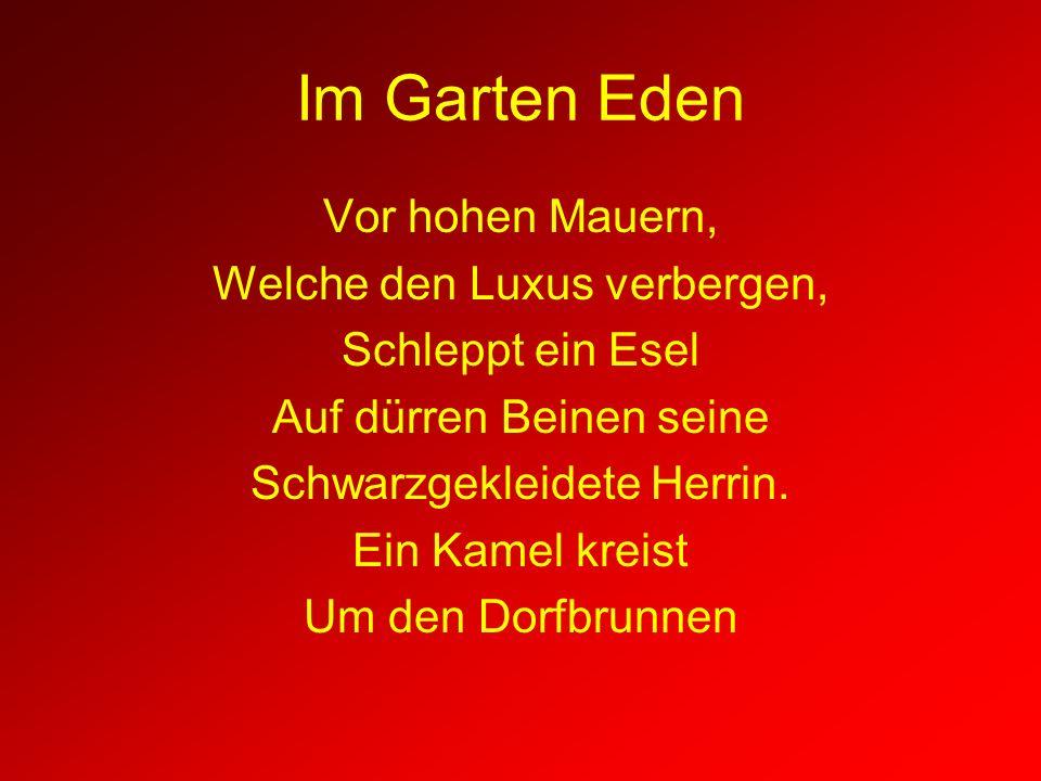 Im Garten Eden Vor hohen Mauern, Welche den Luxus verbergen, Schleppt ein Esel Auf dürren Beinen seine Schwarzgekleidete Herrin. Ein Kamel kreist Um d