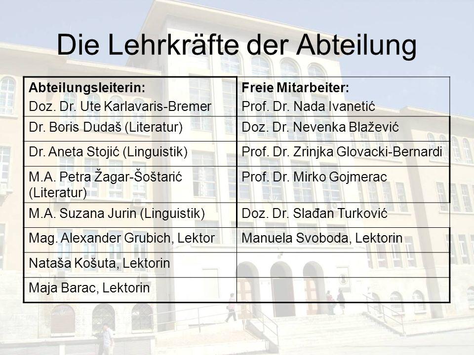 Die Lehrkräfte der Abteilung Abteilungsleiterin: Doz. Dr. Ute Karlavaris-Bremer Freie Mitarbeiter: Prof. Dr. Nada Ivanetić Dr. Boris Dudaš (Literatur)