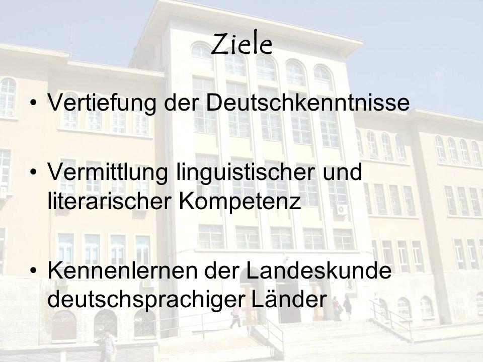 Ziele Vertiefung der Deutschkenntnisse Vermittlung linguistischer und literarischer Kompetenz Kennenlernen der Landeskunde deutschsprachiger Länder