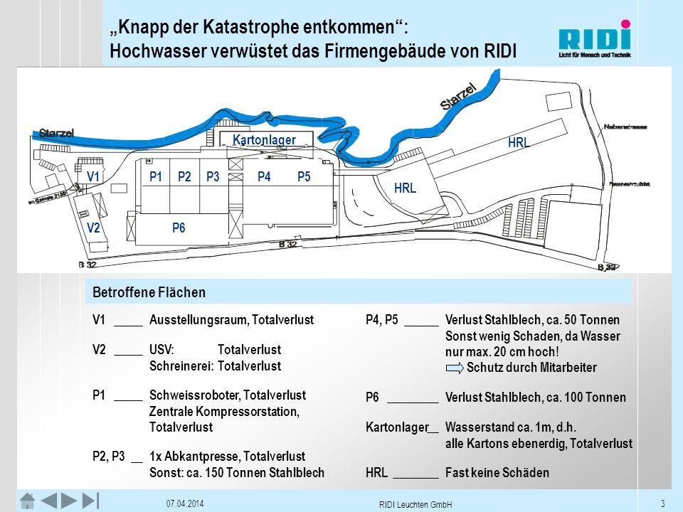 Knapp der Katastrophe entkommen: Hochwasser verwüstet das Firmengebäude von RIDI 07.04.2014 RIDI Leuchten GmbH 3 Betroffene Flächen V1Ausstellungsraum