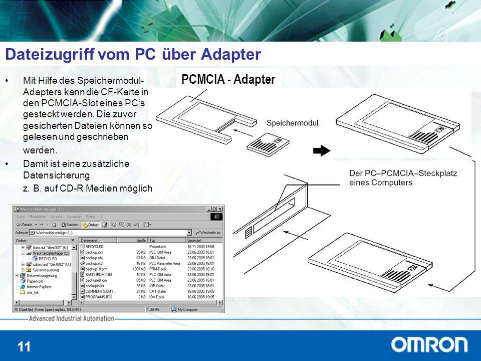 11 Dateizugriff vom PC über Adapter PCMCIA - Adapter Mit Hilfe des Speichermodul- Adapters kann die CF-Karte in den PCMCIA-Slot eines PCs gesteckt wer