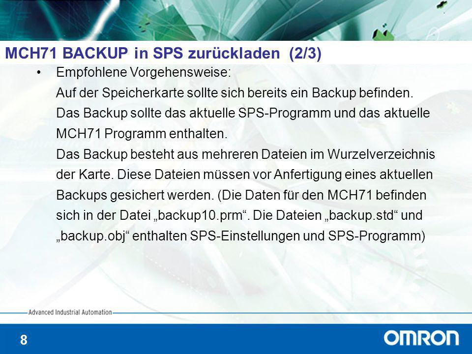 8 MCH71 BACKUP in SPS zurückladen (2/3) Empfohlene Vorgehensweise: Auf der Speicherkarte sollte sich bereits ein Backup befinden. Das Backup sollte da