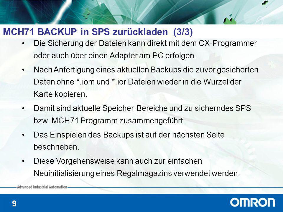 9 MCH71 BACKUP in SPS zurückladen (3/3) Die Sicherung der Dateien kann direkt mit dem CX-Programmer oder auch über einen Adapter am PC erfolgen. Nach