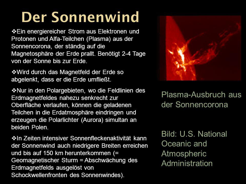 Ein energiereicher Strom aus Elektronen und Protonen und Alfa-Teilchen (Plasma) aus der Sonnencorona, der ständig auf die Magnetosphäre der Erde prall