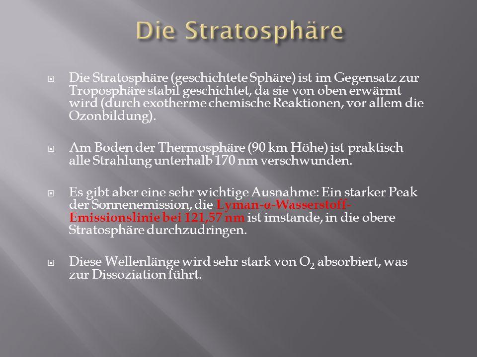 Die Stratosphäre (geschichtete Sphäre) ist im Gegensatz zur Troposphäre stabil geschichtet, da sie von oben erwärmt wird (durch exotherme chemische Re