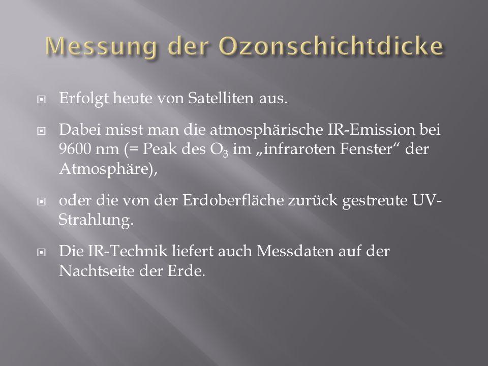 Erfolgt heute von Satelliten aus. Dabei misst man die atmosphärische IR-Emission bei 9600 nm (= Peak des O 3 im infraroten Fenster der Atmosphäre), od