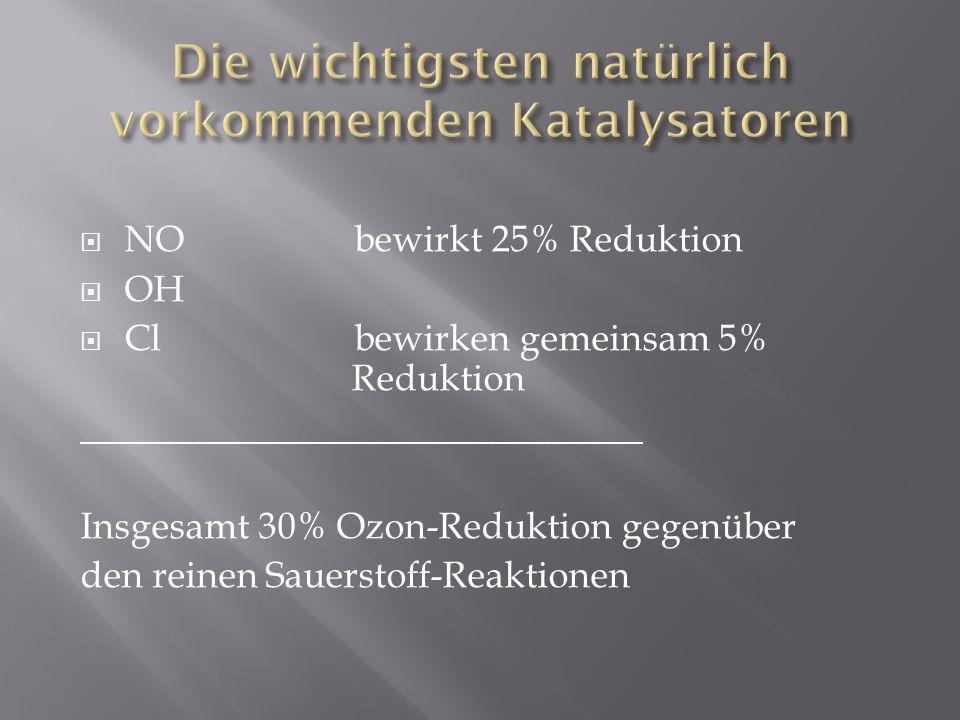 NO bewirkt 25% Reduktion OH Cl bewirken gemeinsam 5% Reduktion ______________________________ Insgesamt 30% Ozon-Reduktion gegenüber den reinen Sauers