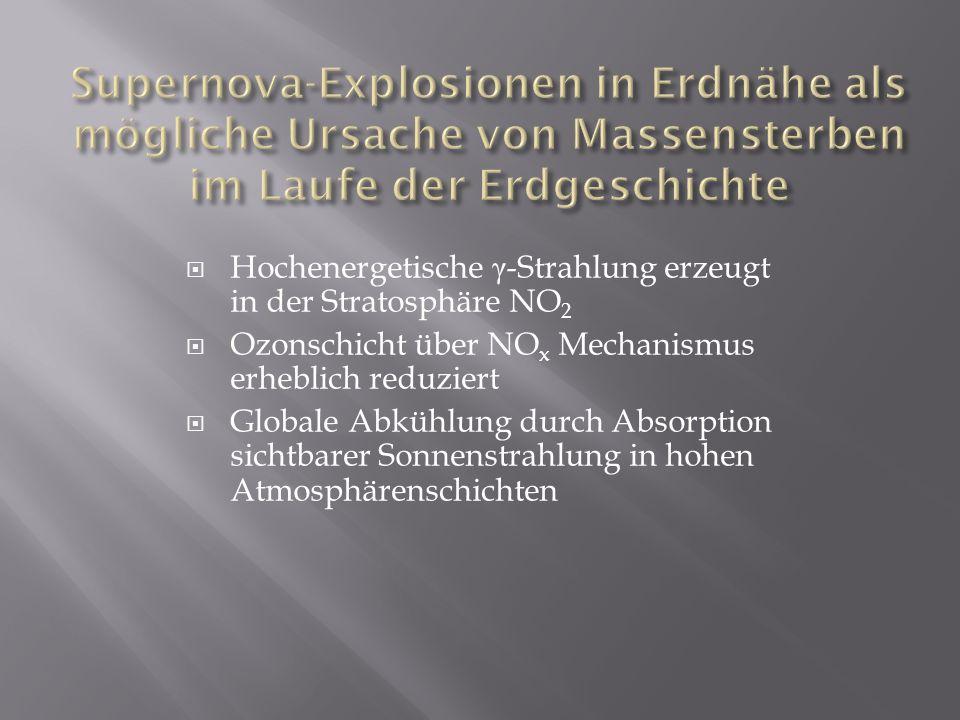 Hochenergetische γ -Strahlung erzeugt in der Stratosphäre NO 2 Ozonschicht über NO x Mechanismus erheblich reduziert Globale Abkühlung durch Absorptio