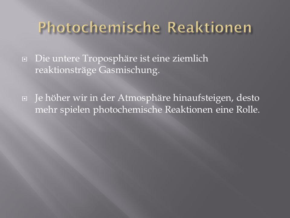 Die untere Troposphäre ist eine ziemlich reaktionsträge Gasmischung. Je höher wir in der Atmosphäre hinaufsteigen, desto mehr spielen photochemische R