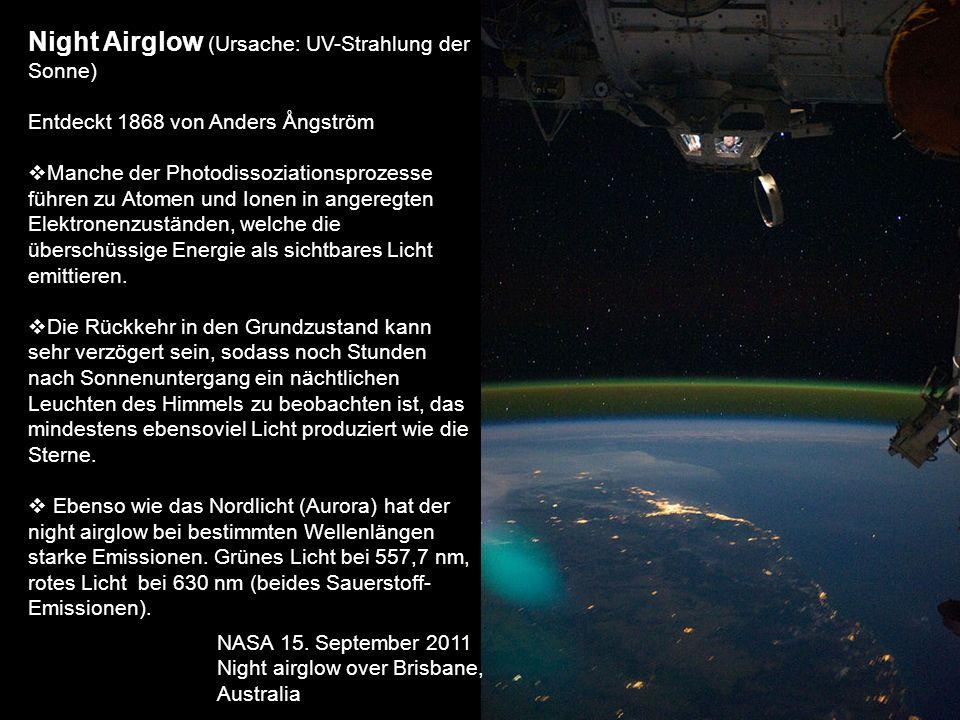 Night Airglow (Ursache: UV-Strahlung der Sonne) Entdeckt 1868 von Anders Ångström Manche der Photodissoziationsprozesse führen zu Atomen und Ionen in
