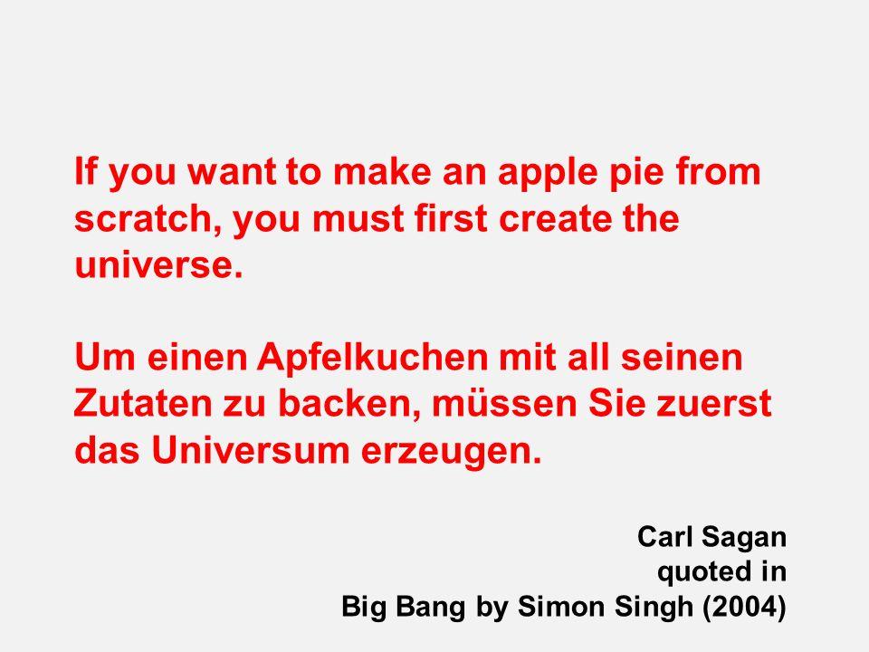 If you want to make an apple pie from scratch, you must first create the universe. Um einen Apfelkuchen mit all seinen Zutaten zu backen, müssen Sie z