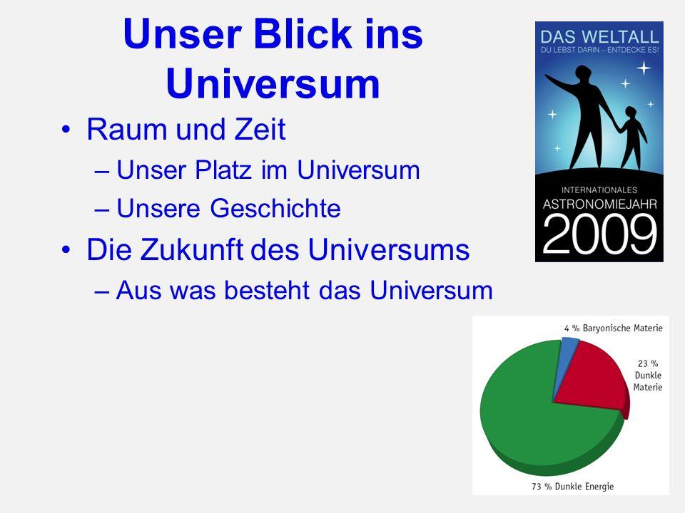 Unser Blick ins Universum Raum und Zeit –Unser Platz im Universum –Unsere Geschichte Die Zukunft des Universums –Aus was besteht das Universum