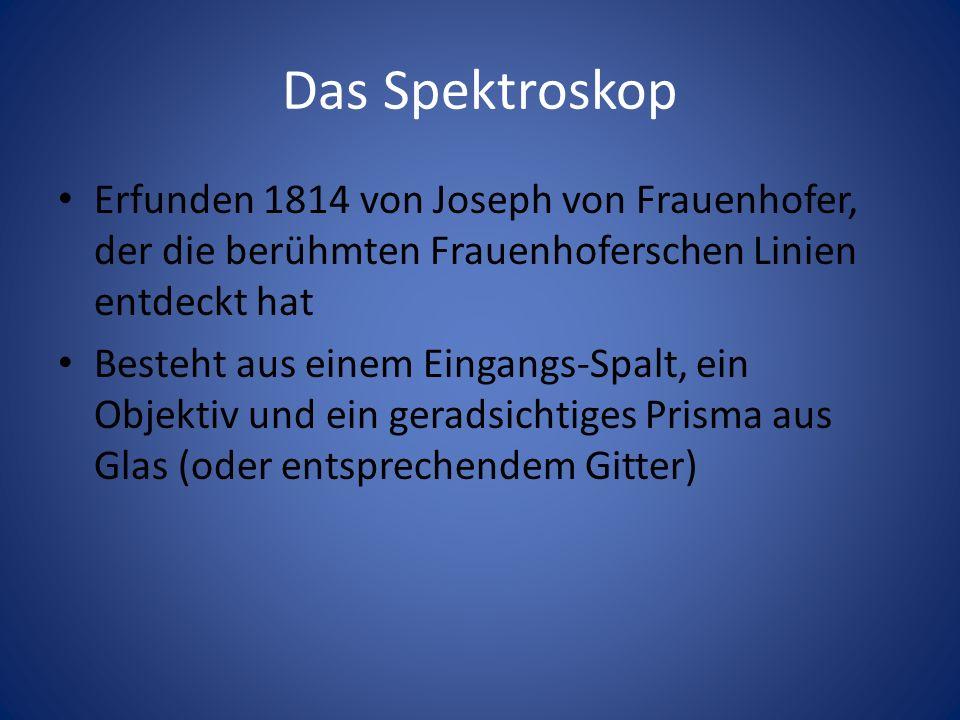Das Spektroskop Erfunden 1814 von Joseph von Frauenhofer, der die berühmten Frauenhoferschen Linien entdeckt hat Besteht aus einem Eingangs-Spalt, ein
