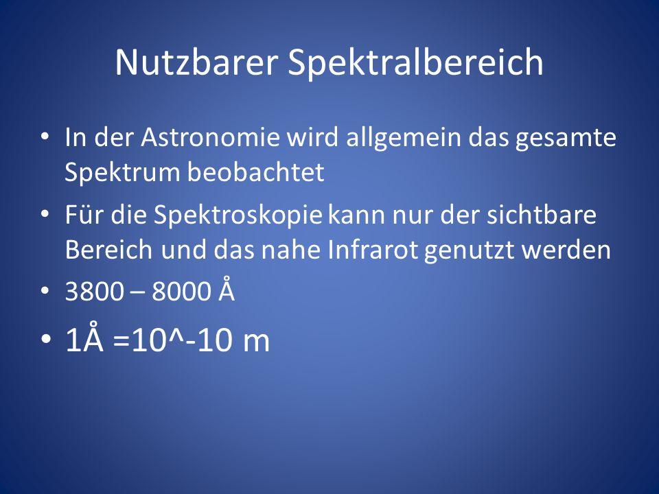 Nutzbarer Spektralbereich In der Astronomie wird allgemein das gesamte Spektrum beobachtet Für die Spektroskopie kann nur der sichtbare Bereich und da