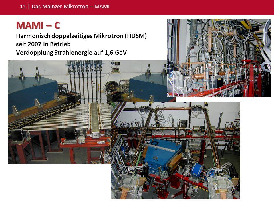 11 | Das Mainzer Mikrotron – MAMI MAMI – C Harmonisch doppelseitiges Mikrotron (HDSM) seit 2007 in Betrieb Verdopplung Strahlenergie auf 1,6 GeV