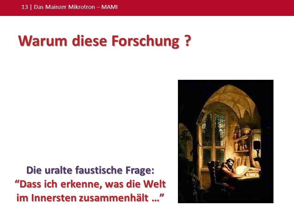 13 | Das Mainzer Mikrotron – MAMI Die uralte faustische Frage: Dass ich erkenne, was die Welt im Innersten zusammenhält … Warum diese Forschung ?