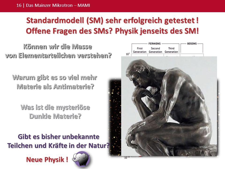 Können wir die Masse von Elementarteilchen verstehen? 16 | Das Mainzer Mikrotron – MAMI Standardmodell (SM) sehr erfolgreich getestet ! Offene Fragen