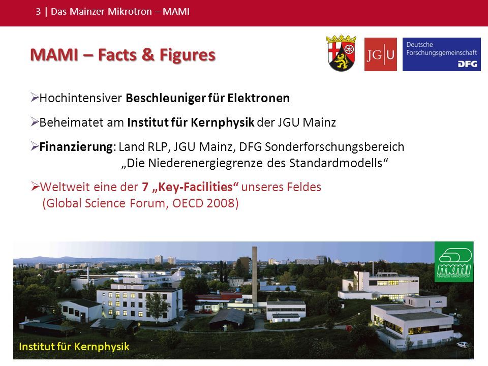 3 | Das Mainzer Mikrotron – MAMI MAMI – Facts & Figures Hochintensiver Beschleuniger für Elektronen Beheimatet am Institut für Kernphysik der JGU Main