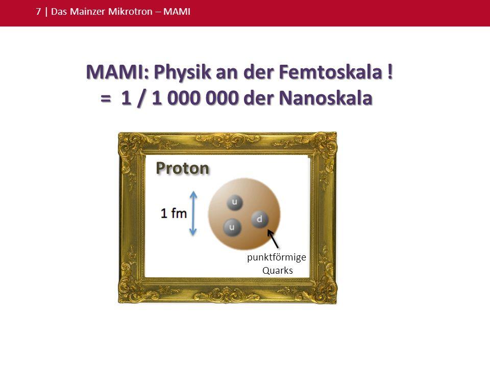 7 | Das Mainzer Mikrotron – MAMI Proton punktförmige Quarks MAMI: Physik an der Femtoskala ! MAMI: Physik an der Femtoskala ! = 1 / 1 000 000 der Nano