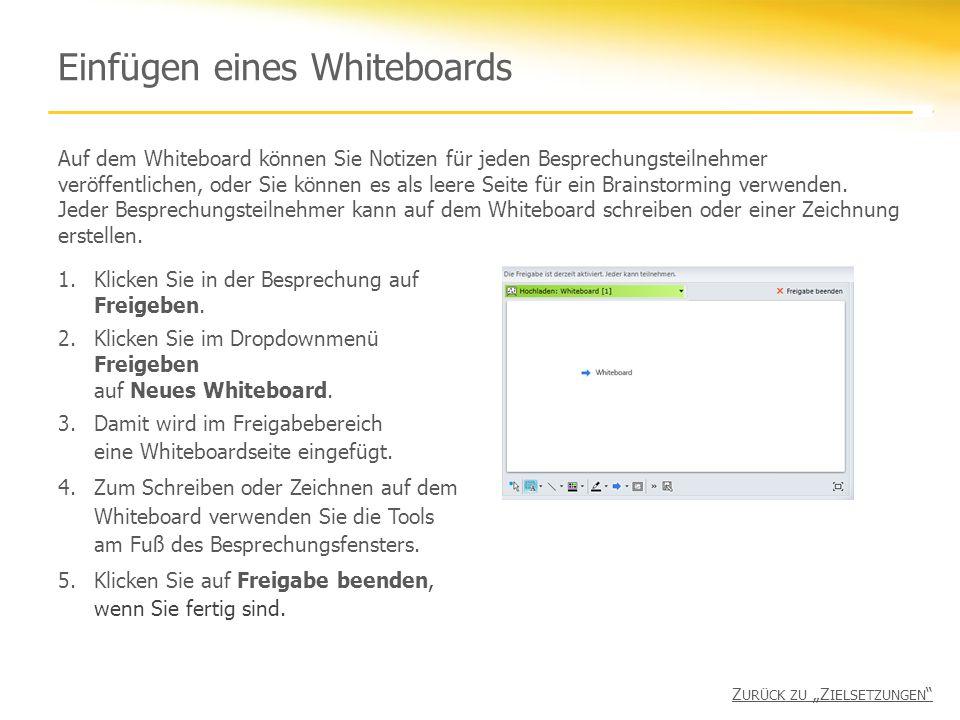 Einfügen eines Whiteboards Auf dem Whiteboard können Sie Notizen für jeden Besprechungsteilnehmer veröffentlichen, oder Sie können es als leere Seite für ein Brainstorming verwenden.
