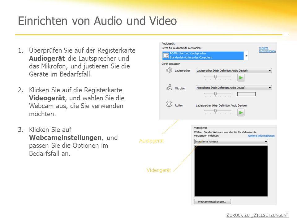 Einrichten von Audio und Video 1.Überprüfen Sie auf der Registerkarte Audiogerät die Lautsprecher und das Mikrofon, und justieren Sie die Geräte im Bedarfsfall.