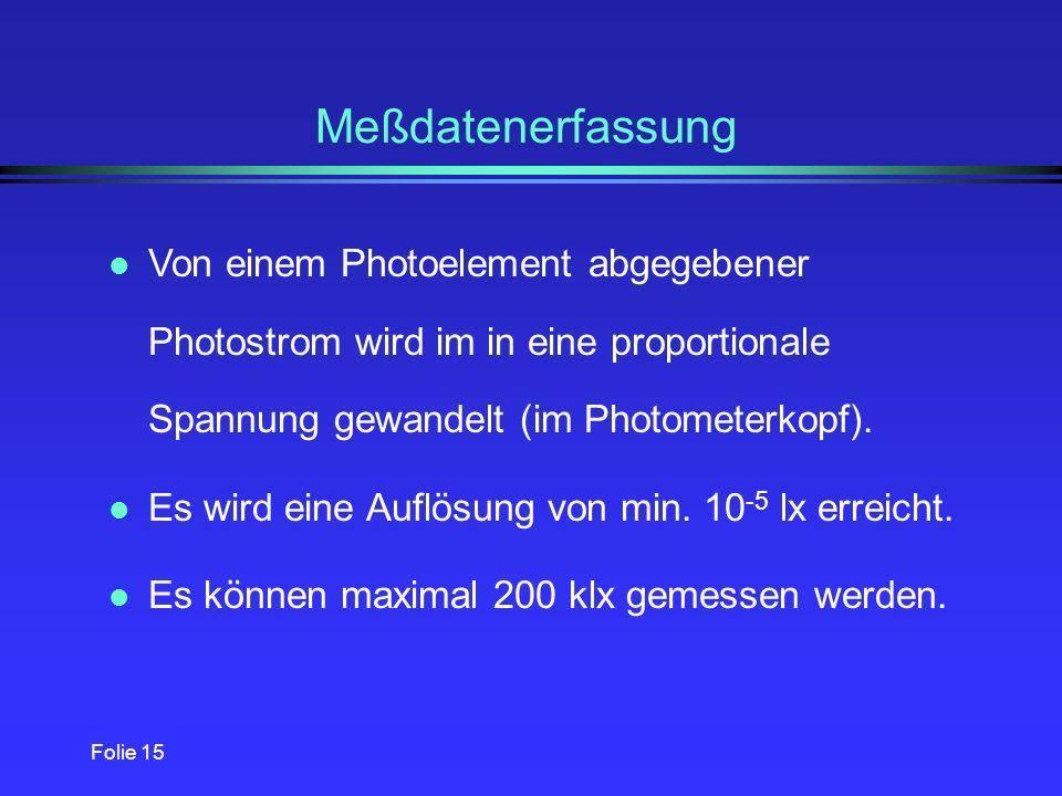 Folie 14 Photometerkopf l Photometerkopf besteht aus einem V( )-Si-Photo- element l kann an Hellempfindlichkeitsgrad V( ) angepaßt werden Vorteil: Fas