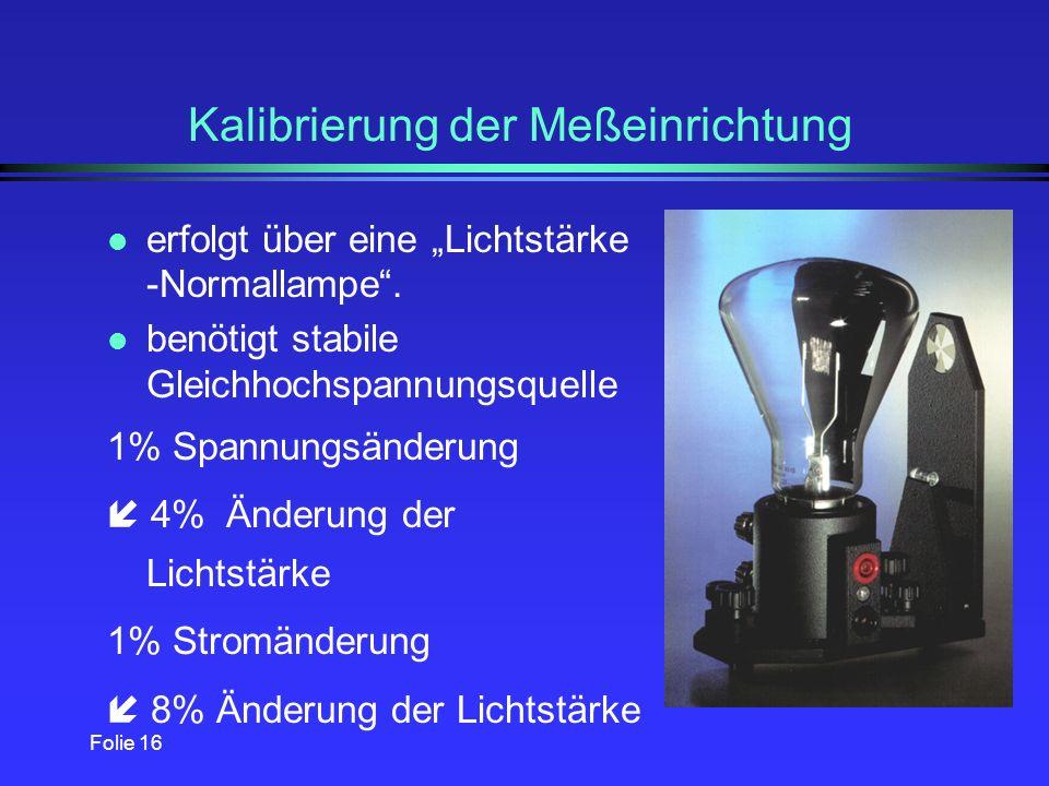 Folie 15 Meßdatenerfassung l Von einem Photoelement abgegebener Photostrom wird im in eine proportionale Spannung gewandelt (im Photometerkopf).