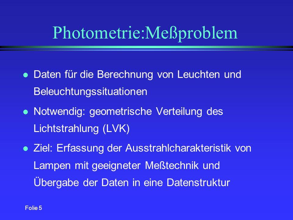 Folie 5 Photometrie:Meßproblem l Daten für die Berechnung von Leuchten und Beleuchtungssituationen l Notwendig: geometrische Verteilung des Lichtstrahlung (LVK) l Ziel: Erfassung der Ausstrahlcharakteristik von Lampen mit geeigneter Meßtechnik und Übergabe der Daten in eine Datenstruktur