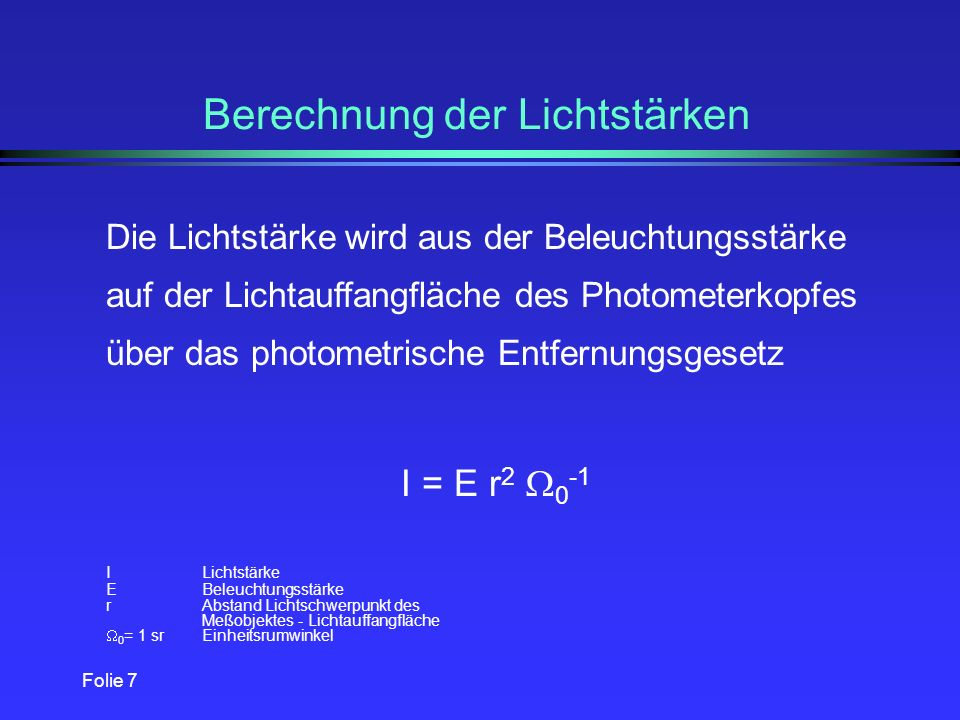 Folie 6 Grundregeln der Lichtmessung l Spektraler Empfindlichkeitsgrad V( ) l lineare Abhängigkeit des spektralen Strahlungsanteils und der zugehörige