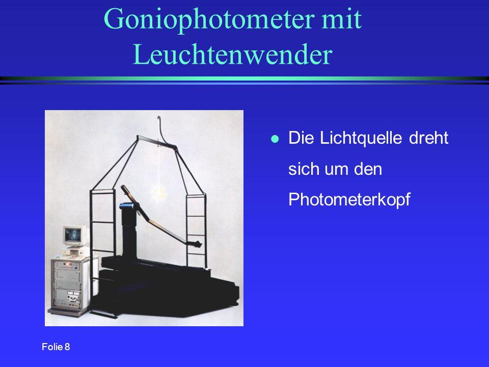 Folie 18 Meßprinzip l Drehspiegel lenkt das von der Lichtquelle abgesandte Licht auf den Photometerkopf l Lichtquelle wird um eine senkrecht Achse gedreht l Drehspiegel wird um eine waagerechte Achse gedreht Vorteil: Die Lichtquelle wird in der Gebrauchslage gemessen