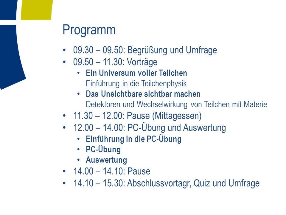 Programm 09.30 – 09.50: Begrüßung und Umfrage 09.50 – 11.30: Vorträge Ein Universum voller Teilchen Einführung in die Teilchenphysik Das Unsichtbare s