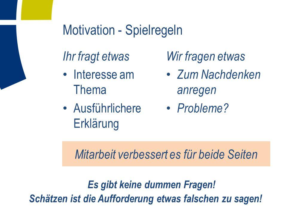 Motivation - Spielregeln Ihr fragt etwas Interesse am Thema Ausführlichere Erklärung Wir fragen etwas Zum Nachdenken anregen Probleme? Mitarbeit verbe