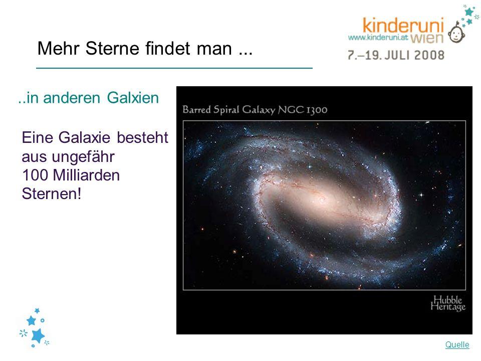 Mehr Sterne findet man.....in anderen Galxien Eine Galaxie besteht aus ungefähr 100 Milliarden Sternen! Quelle