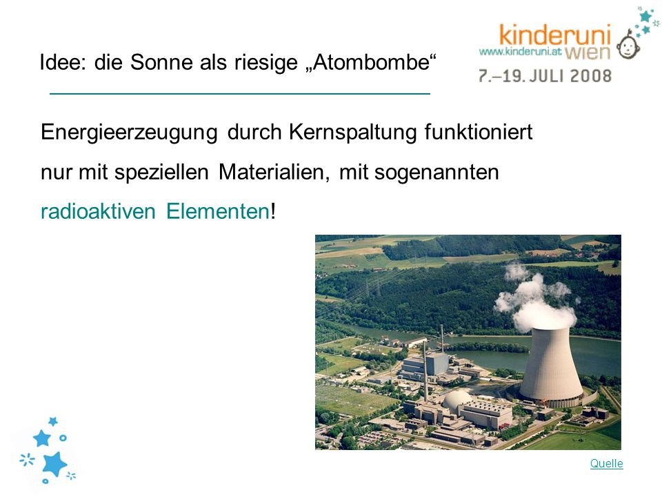 Idee: die Sonne als riesige Atombombe Energieerzeugung durch Kernspaltung funktioniert nur mit speziellen Materialien, mit sogenannten radioaktiven El