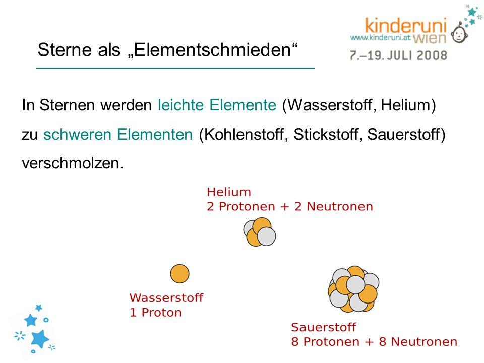Sterne als Elementschmieden In Sternen werden leichte Elemente (Wasserstoff, Helium) zu schweren Elementen (Kohlenstoff, Stickstoff, Sauerstoff) versc
