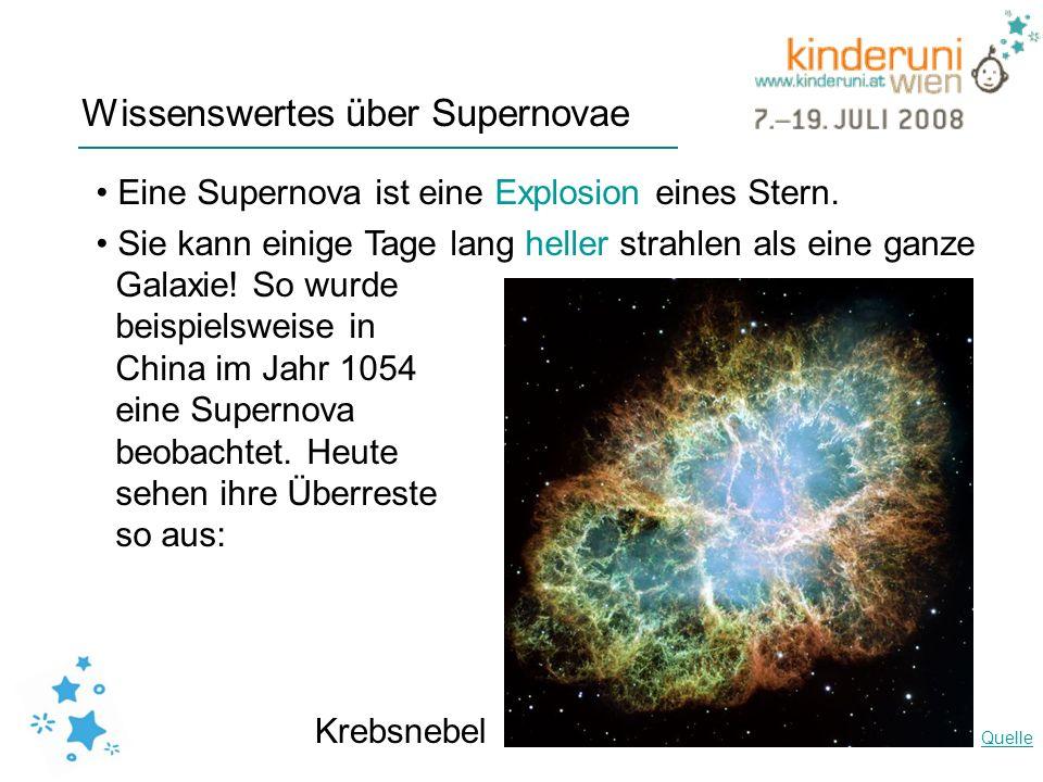 Wissenswertes über Supernovae Eine Supernova ist eine Explosion eines Stern. Sie kann einige Tage lang heller strahlen als eine ganze Galaxie! So wurd