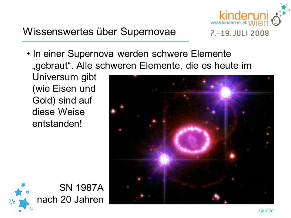Wissenswertes über Supernovae In einer Supernova werden schwere Elemente gebraut. Alle schweren Elemente, die es heute im Universum gibt (wie Eisen un