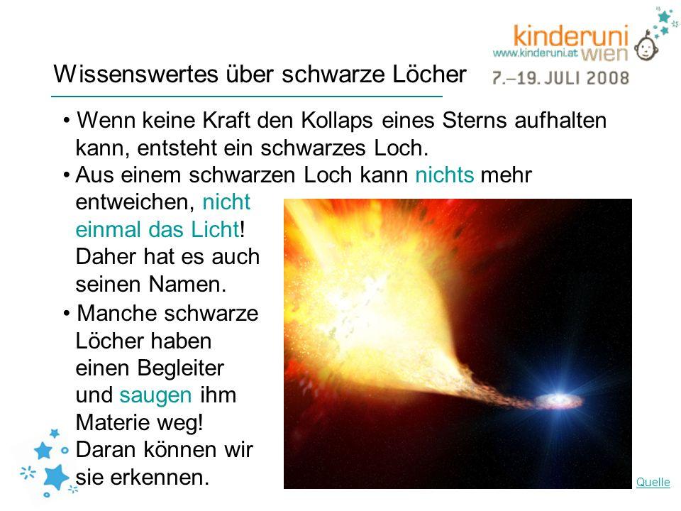 Wissenswertes über schwarze Löcher Wenn keine Kraft den Kollaps eines Sterns aufhalten kann, entsteht ein schwarzes Loch. Aus einem schwarzen Loch kan