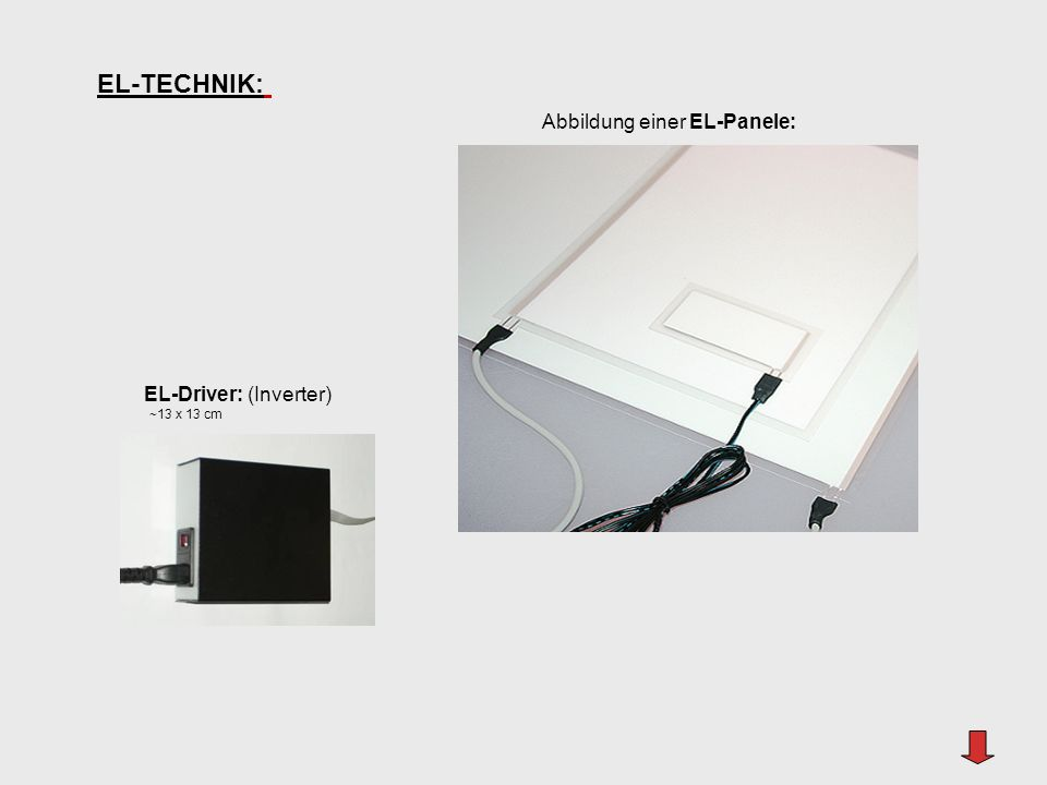 EL-TECHNIK: EL-Driver: (Inverter) ~13 x 13 cm Abbildung einer EL-Panele: