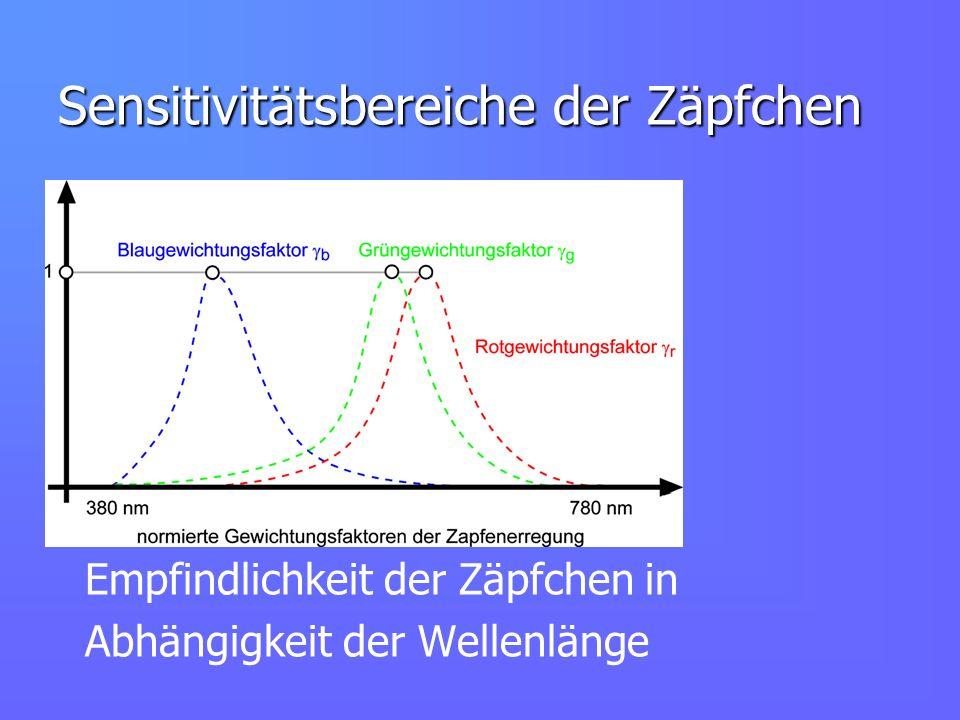 Sensitivitätsbereiche der Zäpfchen Empfindlichkeit der Zäpfchen in Abhängigkeit der Wellenlänge