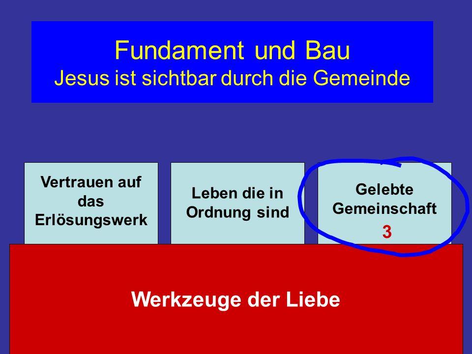 Fundament und Bau Jesus ist sichtbar durch die Gemeinde Werkzeuge der Liebe Vertrauen auf das Erlösungswerk Leben die in Ordnung sind Gelebte Gemeinsc