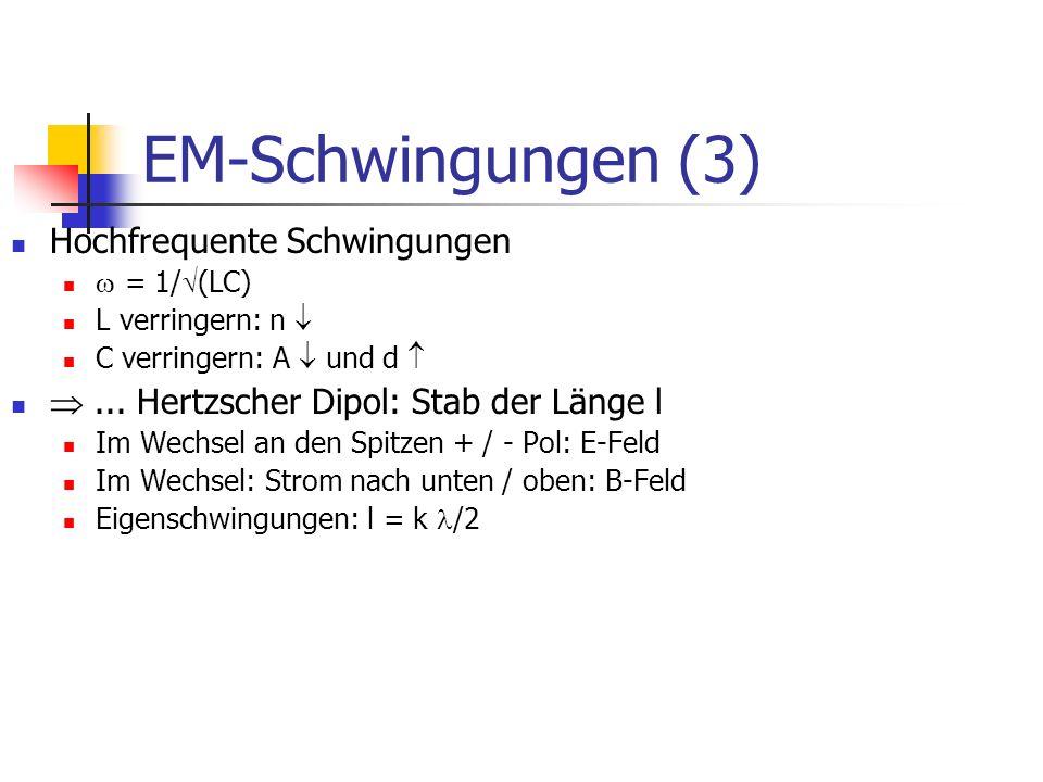 EM-Schwingungen (3) Hochfrequente Schwingungen = 1/ (LC) L verringern: n C verringern: A und d...