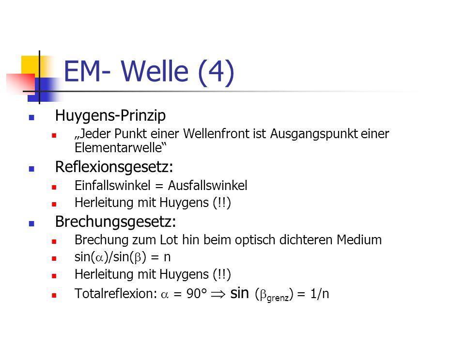 EM- Welle (4) Huygens-Prinzip Jeder Punkt einer Wellenfront ist Ausgangspunkt einer Elementarwelle Reflexionsgesetz: Einfallswinkel = Ausfallswinkel Herleitung mit Huygens (!!) Brechungsgesetz: Brechung zum Lot hin beim optisch dichteren Medium sin( )/sin( ) = n Herleitung mit Huygens (!!) Totalreflexion: = 90° sin ( grenz ) = 1/n
