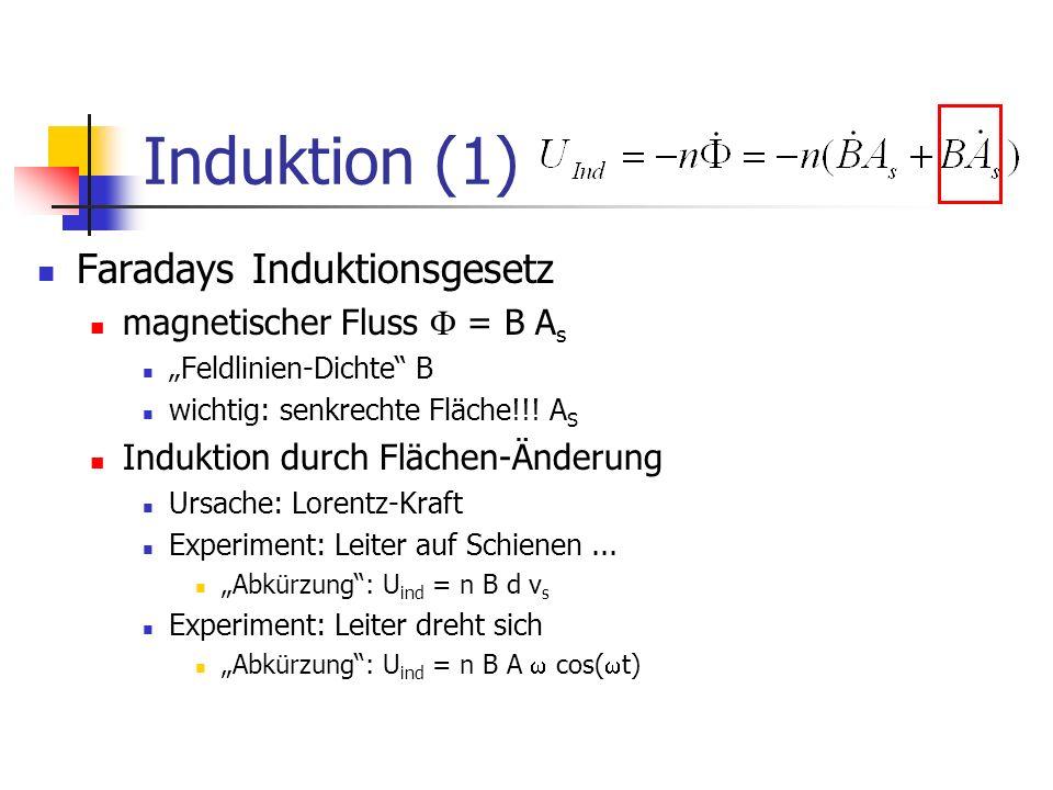 Induktion (1) Faradays Induktionsgesetz magnetischer Fluss = B A s Feldlinien-Dichte B wichtig: senkrechte Fläche!!.