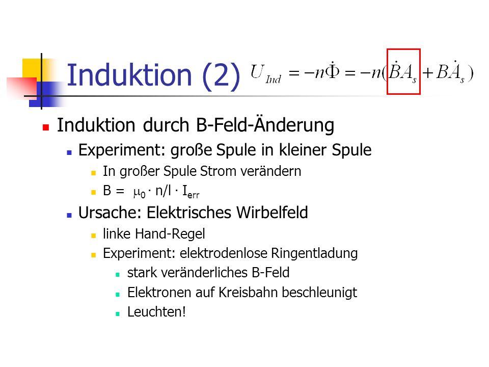 Induktion (2) Induktion durch B-Feld-Änderung Experiment: große Spule in kleiner Spule In großer Spule Strom verändern B = 0.