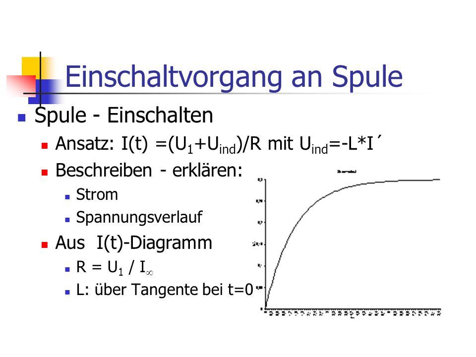 Einschaltvorgang an Spule Spule - Einschalten Ansatz: I(t) =(U 1 +U ind )/R mit U ind =-L*I´ Beschreiben - erklären: Strom Spannungsverlauf Aus I(t)-Diagramm R = U 1 / I L: über Tangente bei t=0