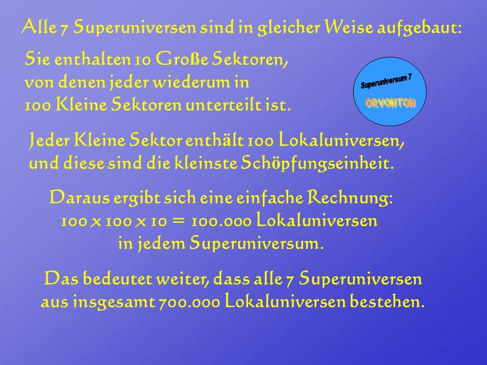 Alle 7 Superuniversen sind in gleicher Weise aufgebaut: Sie enthalten 10 Gro ß e Sektoren, von denen jeder wiederum in 100 Kleine Sektoren unterteilt
