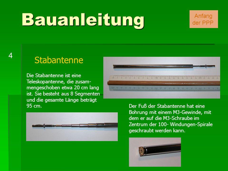 Stabantenne Bauanleitung 4 Anfang der PPP Die Stabantenne ist eine Teleskopantenne, die zusam- mengeschoben etwa 20 cm lang ist. Sie besteht aus 8 Seg