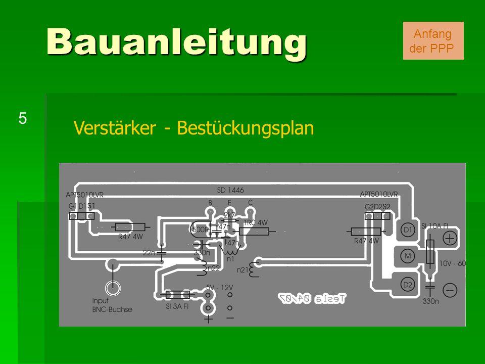 Verstärker - Bestückungsplan Bauanleitung 5 Anfang der PPP