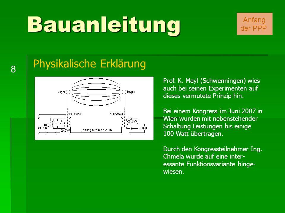 Bauanleitung 8 Anfang der PPP Prof. K. Meyl (Schwenningen) wies auch bei seinen Experimenten auf dieses vermutete Prinzip hin. Bei einem Kongress im J